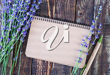 lavender on a table, flowers on the wooden background