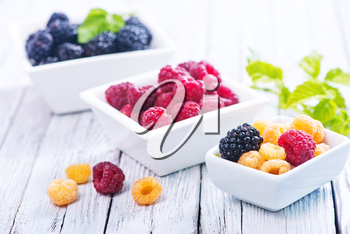 fresh berries in bowl and on a table