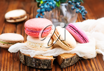 color macaroons on the table, sweet cookies