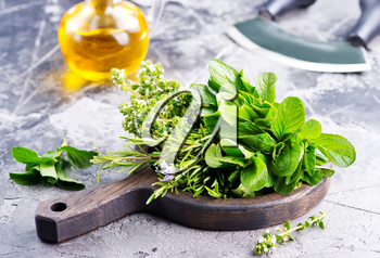 fresh herb on board and on a table