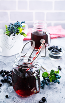 fresh blueberry drink on a table, stock photo