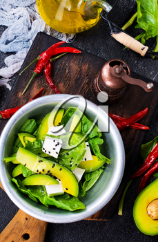 avocado with feta cheese and with aroma herbal spice