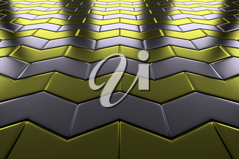 Steel with gold arrow blocks flooring perspective view shiny abstract industrial background