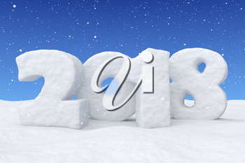 Happy New Year 2018 text written with numbers made of snow on the snow surface in snowy field under blue sky and snowfall, winter snow symbol 3d illustration