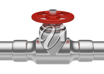 Plumbing or gas pipeline industrial metal construction: red valve on steel pipe of steel pipeline isolated on white background, industrial 3D illustration