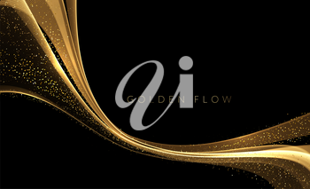 Abstract shiny color gold wave design element on dark background. Fashion flow lines for cosmetic gift voucher, website and advertising. Awarding the nomination ceremony luxury background with golden glitter sparkles. Vector design
