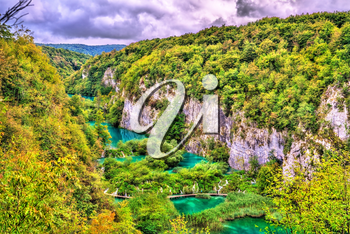 View of the Plitvice Lakes National Park, UNESCO world heritage in Croatia