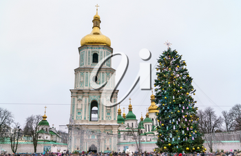 Christmas tree and Saint Sophia Cathedral, a UNESCO world heritage site in Kiev, the capital of Ukraine