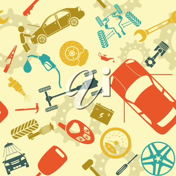 Car service and some types of transportation background. Vector illustration