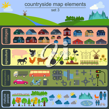 Contryside map elements for generating your own infographics, maps. Vector illustration