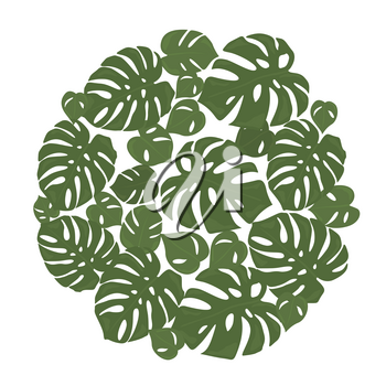 Monstera tropical forest leaves background. Green frame decoration. Vector illustration