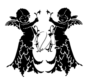 Royalty Free Clipart Image of Two Angels