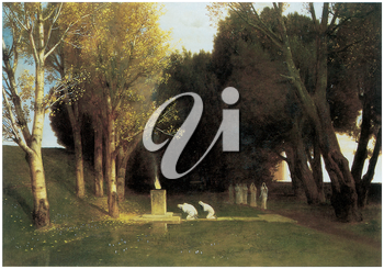 Royalty Free Clipart Image of The Sacred Wood by Arnold Bocklin
