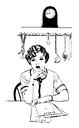 Royalty Free Clipart Image of a Woman Writing out a List