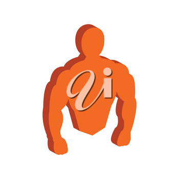 Muscle body, Bodybuilding, Fitness symbol. Flat Isometric Icon or Logo. 3D Style Pictogram for Web Design, UI, Mobile App, Infographic. Vector Illustration on white background.
