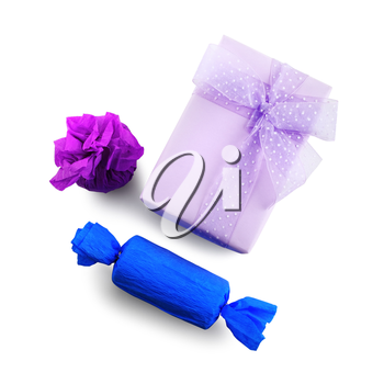 Bright purple and blue gift boxes. Isolated with clipping path on white background. Top view.
