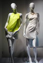 Fashion concept. Photo of two elegant female mannequins demonstrating clothes.
