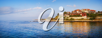 Nesebar, Bulgaria - September 05, 2014: Bulgarian Black Sea Coast. Panorama of the old town of Nesebar. Panoramic shot.