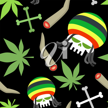 Rasta pattern. Seamless background from marihuanny and skull. Smoking dope and bones of skeleton. Vector background