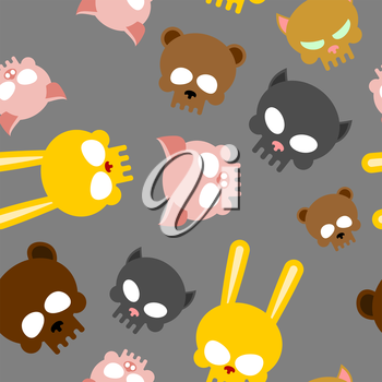 Child seamless pattern for Halloween. Skulls of baby animals. Vector background for fabrics