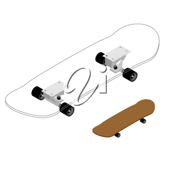 Skateboard structure. Board for skiing specification circuit. Transparent scheme of composition of deck and rolls for skateboarding. Sports tool to perform various tricks