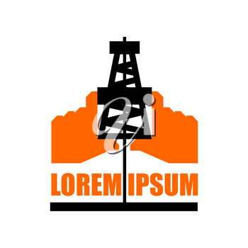 Oil production logo. petroleum industry sign. Logo for petrol processing. naphthal rig workers and human hands