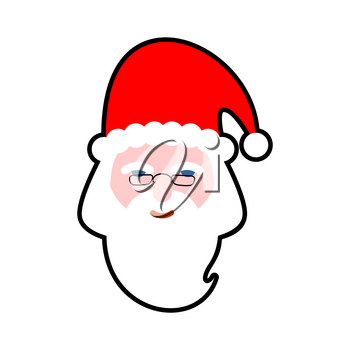 Santa face isolated. Beard and mustache. Red Hat. Christmas icon. Head of an old man on white background. Xmas template