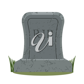 ancient RIP. Grave isolated. Old gravestone with cracks. tomb on white background. Granite plate with cracks