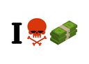 I hate money. Skull symbol of hatred and wad of cash. I do not like dollars. Anti financial emblem