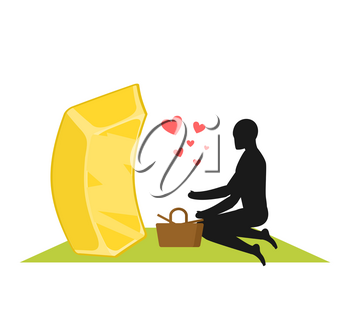Lover gold. Golds bullion on picnic. Rendezvous in Park. Meal in nature. Plaid and basket for food on lawn. Romantic illustration
