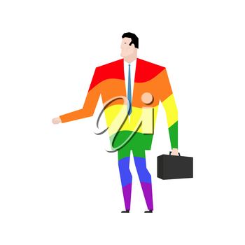 businessman is gay. Rainbow clothes. LGBT manager with case