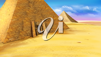 Digital painting of the Egyptian pyramid with entrance. Mystic and secret scene. Long shot.