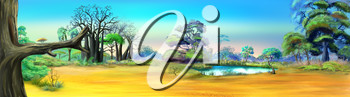 Digital painting of the African Savannah in a summer day with small lake. Panorama.