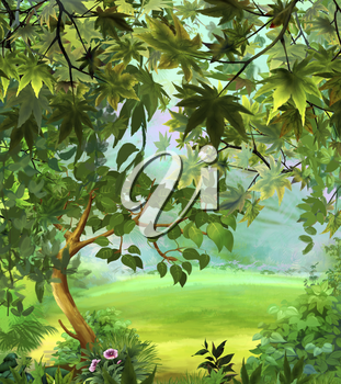 Digital painting of the Tree in a Meadow