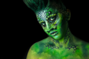 Fantastic Reptilian Girl. Creative Make up like Alien or Superhero Movie.