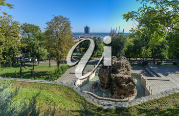 Odessa, Ukraine - 09.03.2018. Panoramic view in the Istanbul park in Odessa, Ukraine on a sunny spring morning