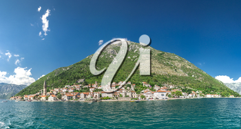 View of the city of Perast in the Bay of Kotor, Montenegro
