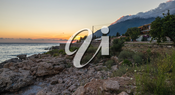 Warm summer evening at the resort of Dhermi in Albania