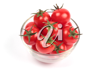 Cherry tomatoes in glass plate isolated on white background