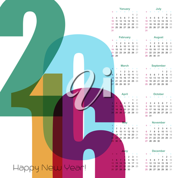 2016 Year Calendar.  Vector illustration.  EPS 10