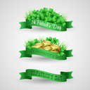 Vector illustration Set of Saint Patrick Day Banner with clover and coins