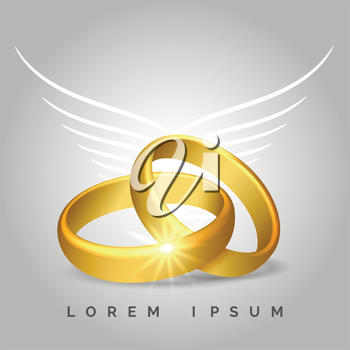 Pair of golden rings with angel wings for wedding cards. Vector illustration