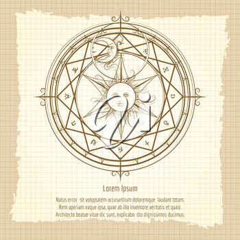 Vintage occult hermetic circle. Alchemy magic circle on notebook backdrop vector illustration
