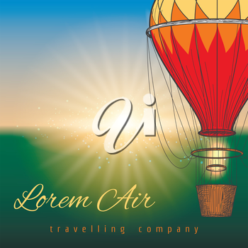 Hot air balloon on blurred background. Vector travel poster design