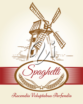 Spaghetti pasta label. Bakery background with whole wheat milled flour and mill