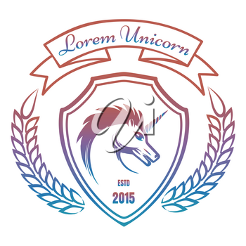 Colorful medieval coat of arms with unicorn isolated on white background. Vector illustration