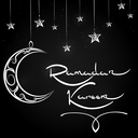 Arabic background with ornate moon and stars and lettering sign Ramadan Kareem on chalkboard. Vector illustration