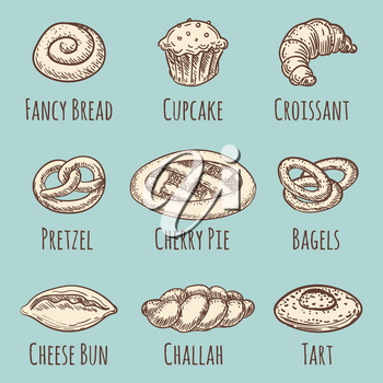 Vintage bakery or pastries products collection. Vector illustration