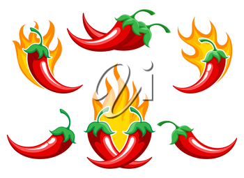 Chili pepper on fire. Closeup burned cayenne pepper for spicy food ingredients or capsicum salsa cooking, vector illustration