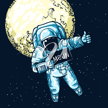 Astronaut hitchhiking. Space hiker vector art, spaceman hitchhiker on autostop road to moon, funny space journey travelling illustration